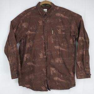 Columbia River Lodge Deer Buck Shirt men's Lg Brow